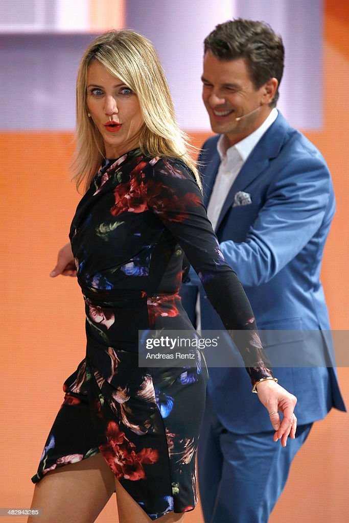 Markus Lanz and Cameron Diaz seen on stage during the 'Wetten, dass..?' tv show on April 5, 2014 in Offenburg, Germany.