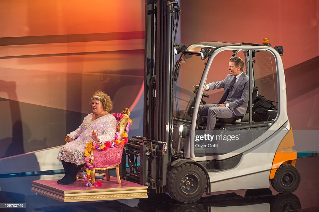 Markus Lanz and Cindy aus Marzah attend the 'Wetten dass..?' show on January 19, 2013 in Offenburg, Germany.