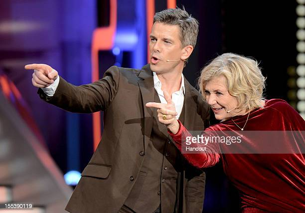 Markus Lanz and Jutta Speidel act during the 'Wetten dass' show on November 3 2012 in Bremen Germany