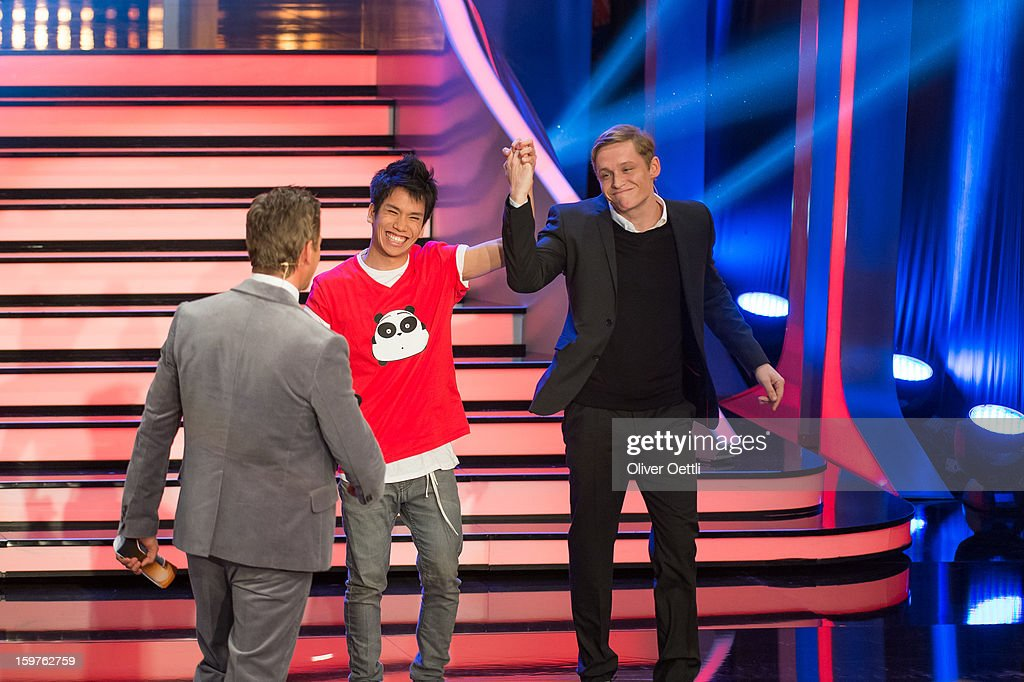 Markus Lanz and Matthias Schweighoefer attend the 'Wetten dass..?' show on January 19, 2013 in Offenburg, Germany.