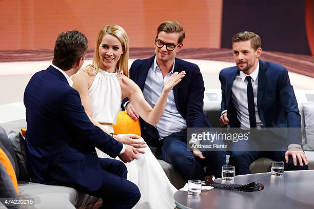 Markus Lanz Judith Rakers Joko Winterscheidt and Klaas HeuferUmlauf attend the 'Wetten dass' TV Show from Dusseldorf at the ISS Dome on February 22...