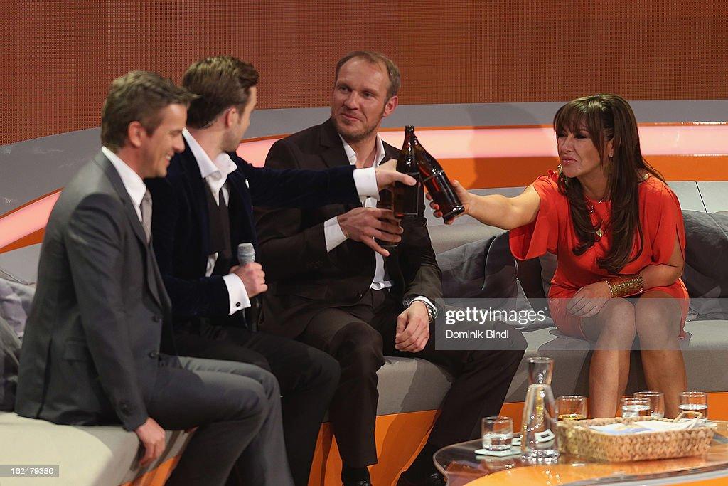 Markus Lanz Justin Timberlake Hermann Maier and Simone Thomalla Axel Prahl and Michael Mittermeier attend 'Wetten dass' from Friedrichshafen on...