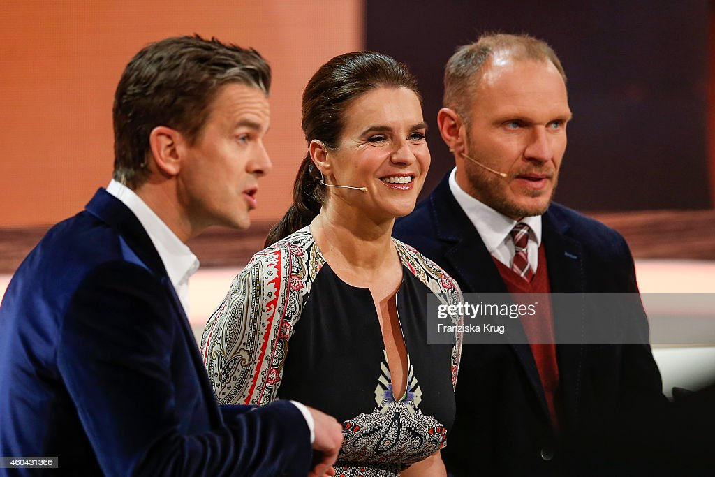 Markus Lanz Katarina Witt and Hermann Maier attend the last broadcast of the 'Wetten dass TV show' on December 13 2014 in Nuremberg Germany