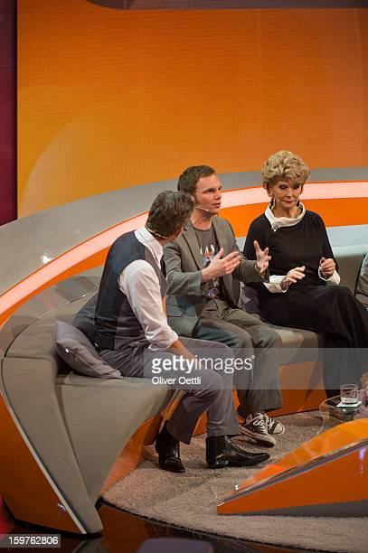 Markus Lanz Ralf Schmitz and Christiane Hoerbiger attend the 'Wetten dass' show on January 19 2013 in Offenburg Germany