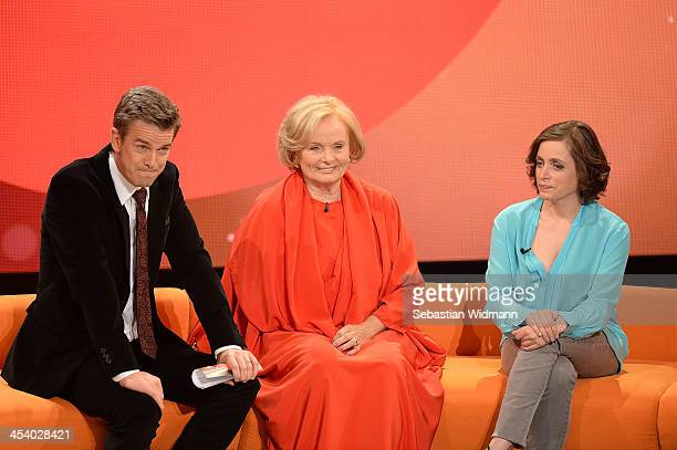 Markus Lanz Ruth Maria Kubitschek and Anna Thalbach attend the taping of 'Menschen 2013' Show on December 6 2013 in Munich Germany