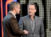 Markus Lanz welcome Tom Hanks during the 'Wetten dass' show on November 3 2012 in Bremen Germany