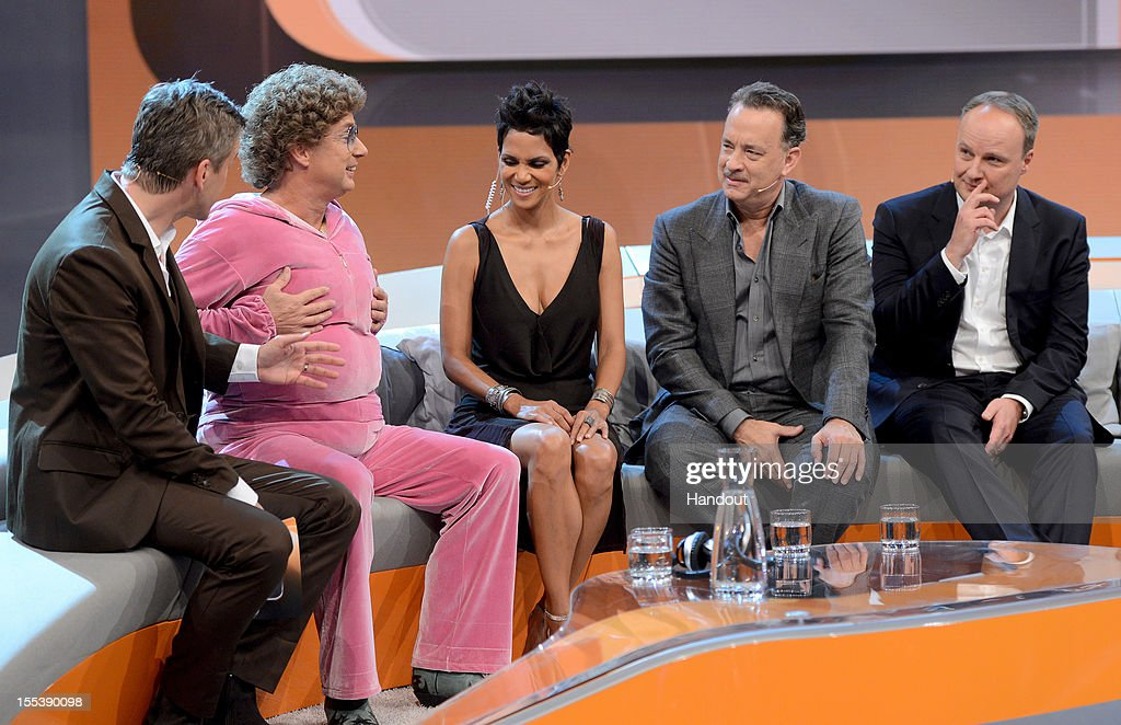 Markus Lanz welcomes Oliver Welke Tom Hanks Halle Berry and Atze Schroeder during the 'Wetten dass' show on November 3 2012 in Bremen Germany