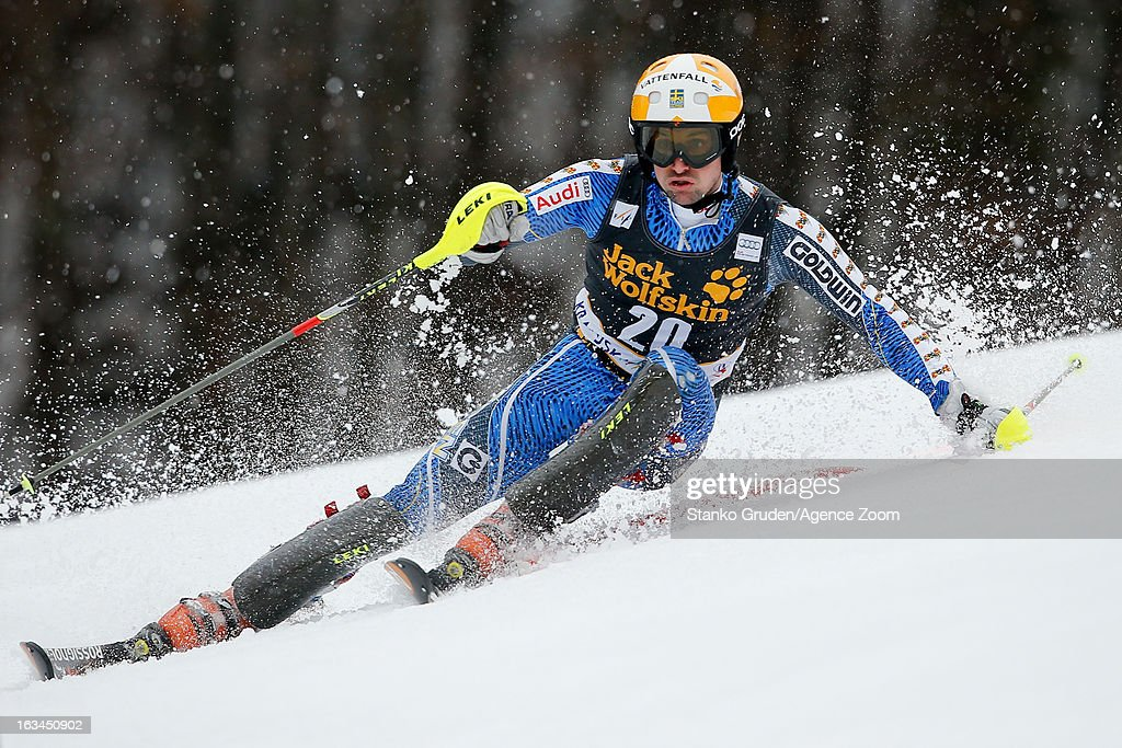 Markus Larsson of Sweden competes during the Audi FIS Alpine Ski World Cup Men's Slalom on March 10, 2013 in Kranjska Gora, Slovenia.