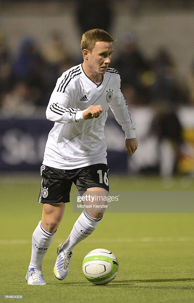 Markus Mendler of Germany runs with the ball during the international friendly match between U20 Switzerland and U20 Germany at Eps Stadium on March 26, 2013 in Baden, Switzerland