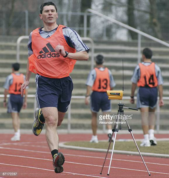 Markus Merk is seen during the referee fitness check of the FIFA referee seminar at the Sportpark NeuIsenburg on March 24 2006 in Frankfurt Germany...