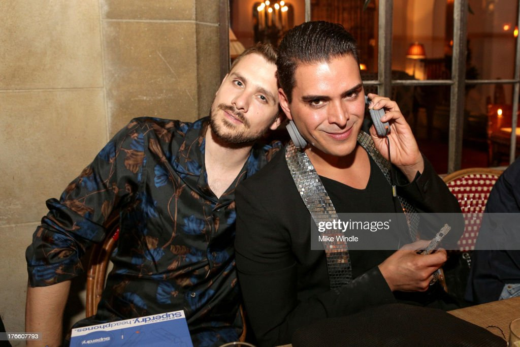 Markus Molinari (R) and Davide Edoardo Sola attend the SUPERDRY intimate dinner in celebration of the brand's Autumn/Winter 2013 Collection at Chateau Marmont on August 15, 2013 in Los Angeles, California.