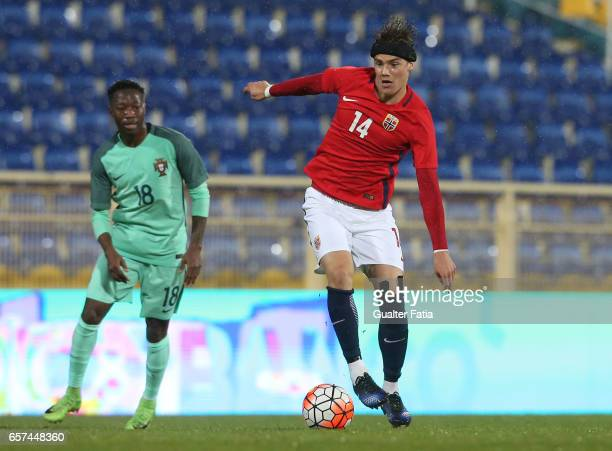 Markus Nakkim of Norway in action during the U21 International Friendly match between Portugal and Norway at Estadio Antonio Coimbra da Mota on March...