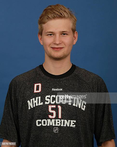 Markus Niemelainen poses for a headshot at the 2016 NHL Combine on June 2 2016 at Harborcenter in Buffalo New York