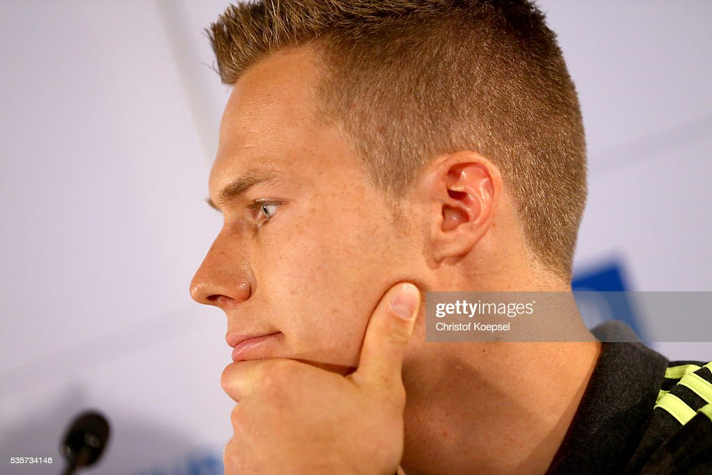 Markus Rehm, handicapped longjumper and Paralympics winner of London 2012 attends a press conference at German Sport & Olympic Museum on May 30, 2016 in Cologne, Germany.