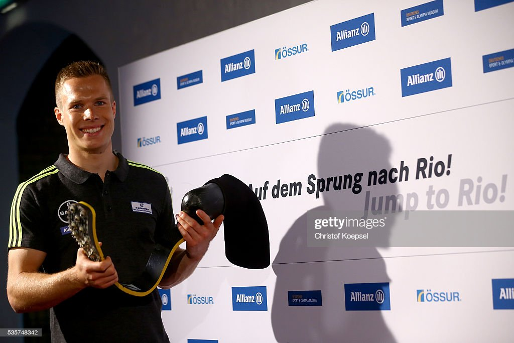 <a gi-track='captionPersonalityLinkClicked' href=/galleries/search?phrase=Markus+Rehm&family=editorial&specificpeople=6542677 ng-click='$event.stopPropagation()'>Markus Rehm</a>, handicapped longjumper and Paralympics winner of London 2012 poses qith his prothesis after a press conference at German Sport & Olympic Museum on May 30, 2016 in Cologne, Germany.