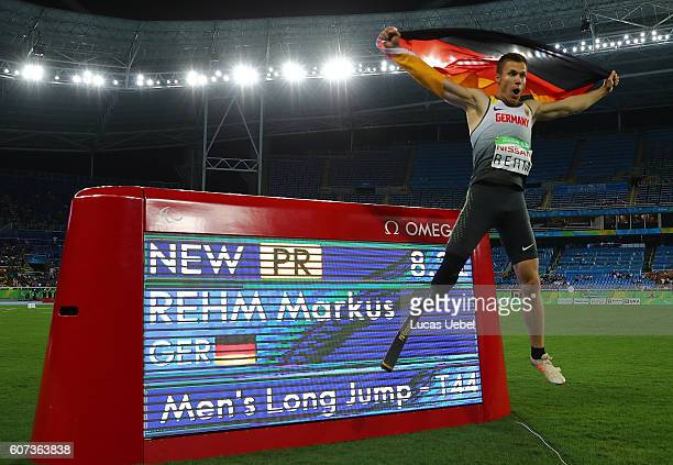 Markus Rehm of Germany celebrates after winning the Men's Long Jump T44 Final during day 10 of the Rio 2016 Paralympic Games at the Olympic Stadium...
