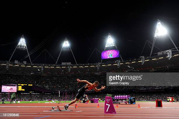 Markus Rehm of Germany starts in the Men's 4x100m relay T42/T46 Final on day 7 of the London 2012 Paralympic Games at Olympic Stadium on September 5...