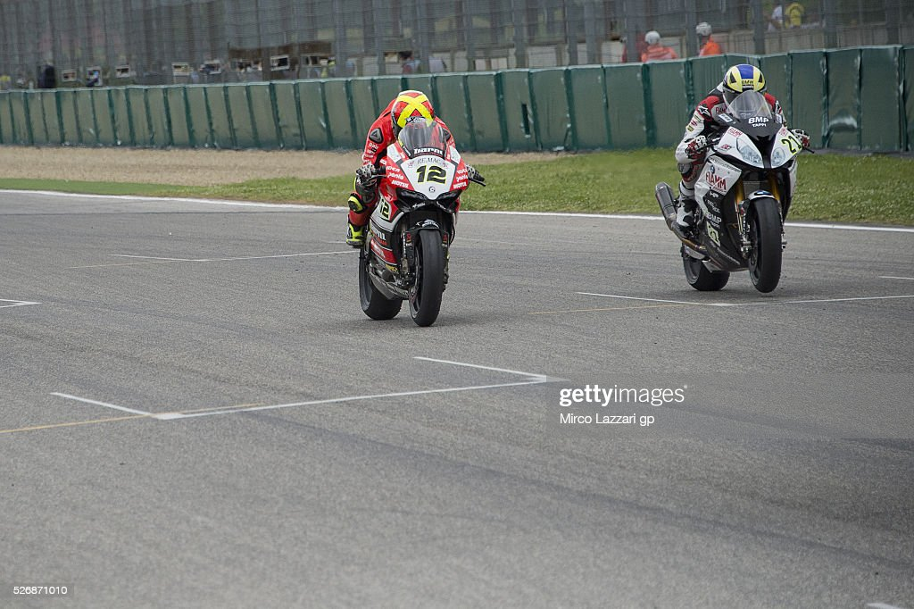 Markus Reiterberger of Germany and Althea BMW Racing Team leads Xavi Fores of Spain and Barni Racing Team during the Superbike race 2 during the World Superbikes - Race at Enzo & Dino Ferrari Circuit on May 10, 2015 in Imola, Italy.