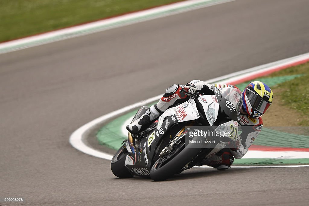 Markus Reiterberger of Germany and Althea BMW Racing Team rounds the bend during the World Superbikes - Practice at Enzo & Dino Ferrari Circuit on April 29, 2016 in Imola, Italy.