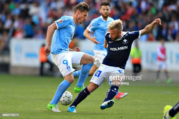 Markus Rosenberg mand Nicklas Barkroth of IFK Norrkoping during the Allsvenskan match between Malmo FF and IFK Norrkoping at Swedbank Stadion on May...