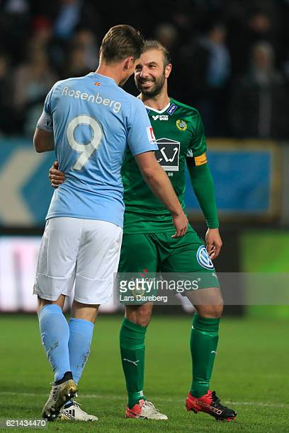 Markus Rosenberg of Malmo FF and Kennedy Bakircioglu of Hammarby IF during the Allsvenskan match between Malmo FF and Hammarby IF at Swedbank Stadion...