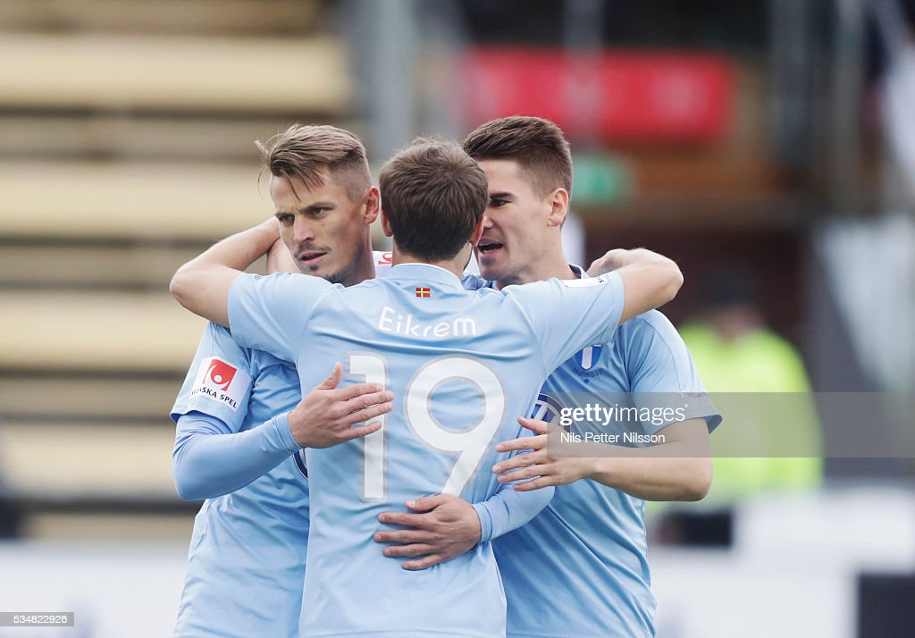 Markus Rosenberg of Malmo FF celebrates after scoring to 0-1 during the Allsvenskan match between Ostersunds FK and Malmo FF at Jamtkraft Arena on May 28, 2016 in Ostersund, Sweden.