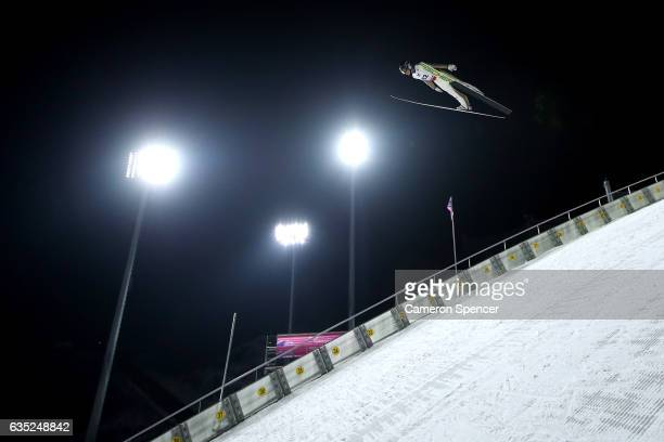 Markus Schiffner of Austria jumps during trainining for the 2017 FIS Ski Jumping World Cup test event For PyeongChang 2018 at Alpensia Ski Jumping...