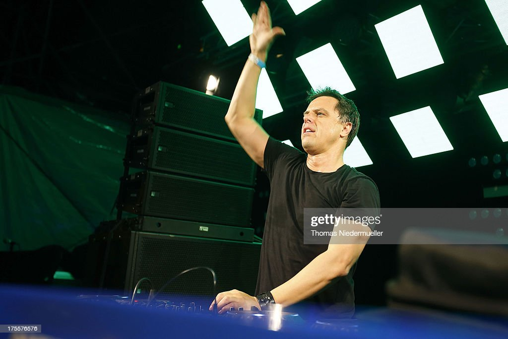 Markus Schulz performs at the 'Nature One' massive rave, held at the former US rocket base Pydna on August 3, 2013 in Kastellaun, Germany.