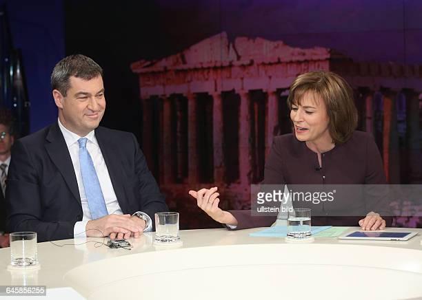 Markus Söder mit Maybrit Illner in der ZDFTalkshow 'Maybrit_Illner' am in BerlinThema der Sendung Athen gegen alle Scheitert der Euro