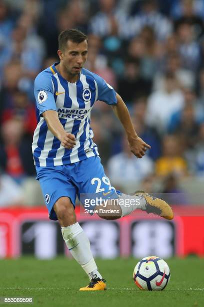 Markus Suttner of Brighton and Hove Albion in action during the Premier League match between Brighton and Hove Albion and Newcastle United at Amex...