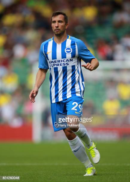 Markus Suttner of Brighton in action during the preseason friendly match between Norwich City and Brighton Hove Albion at Carrow Road on July 29 2017...