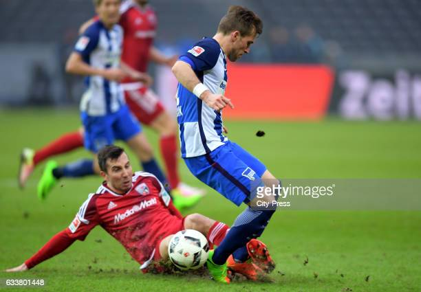 Markus Suttner of FC Ingolstadt 04 and Peter Pekarik of Hertha BSC during the game between Hertha BSC and FC Ingolstadt 04 on February 4 2017 in...