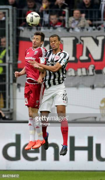 Markus Suttner of Ingolstadt and Timothy Chandler of Frankfurt battle for the ball during the Bundesliga match between Eintracht Frankfurt and FC...
