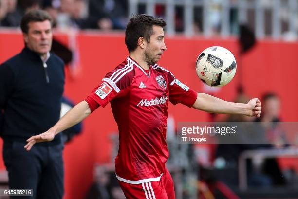 Markus Suttner of Ingolstadt controls the ball during the Bundesliga match between FC Ingolstadt 04 and Borussia Moenchengladbach at Audi Sportpark...