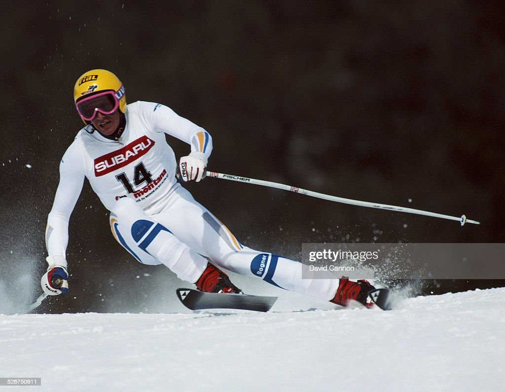 Markus Wasmeier of Germany during the International Ski Federation Men's Super Giant Slalom at the Alpine Skiing World Cup event on 2 February 1987...