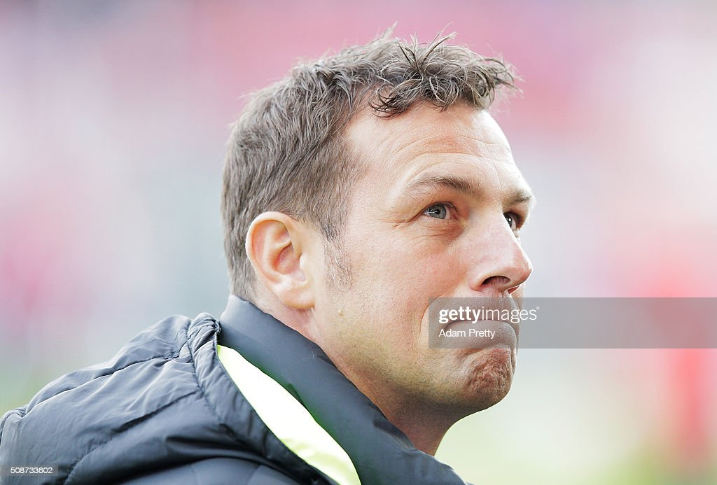 <a gi-track='captionPersonalityLinkClicked' href=/galleries/search?phrase=Markus+Weinzierl&family=editorial&specificpeople=5848121 ng-click='$event.stopPropagation()'>Markus Weinzierl</a> Head Coach of Augsburg before the Bundesliga match between FC Ingolstadt and FC Augsburg at Audi Sportpark on February 6, 2016 in Ingolstadt, Germany.