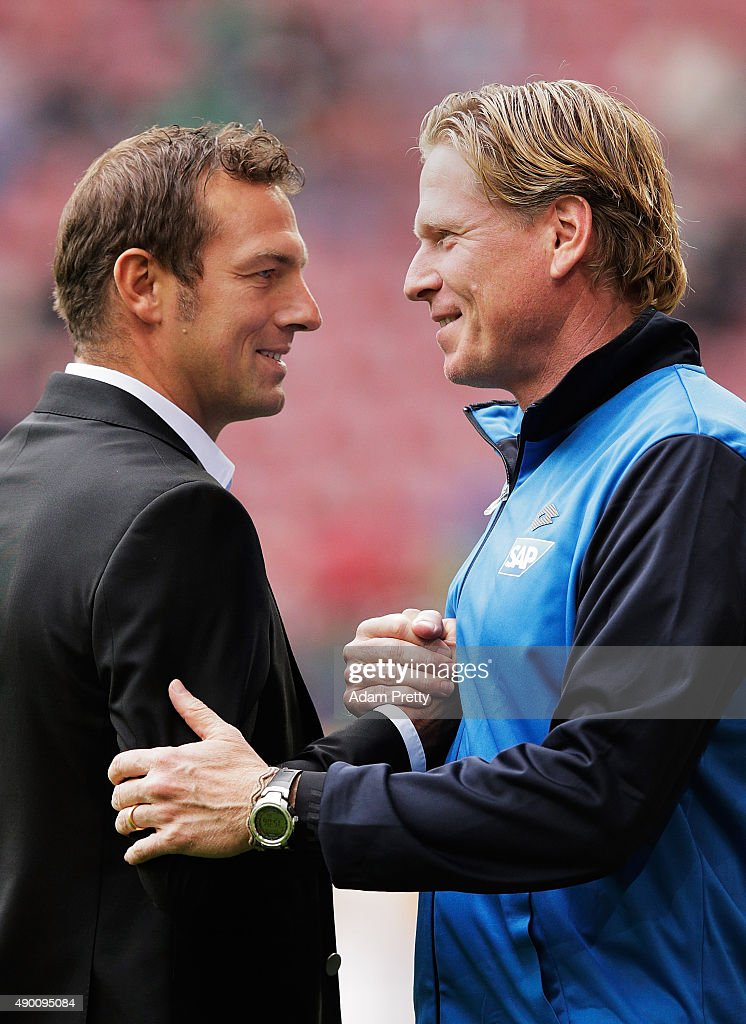 <a gi-track='captionPersonalityLinkClicked' href=/galleries/search?phrase=Markus+Weinzierl&family=editorial&specificpeople=5848121 ng-click='$event.stopPropagation()'>Markus Weinzierl</a> head coach of Augsburg chats to <a gi-track='captionPersonalityLinkClicked' href=/galleries/search?phrase=Markus+Gisdol&family=editorial&specificpeople=7063298 ng-click='$event.stopPropagation()'>Markus Gisdol</a> head coach of Hoffenheim before the Bundesliga match between FC Augsburg and 1899 Hoffenheim at WWK-Arena on September 26, 2015 in Augsburg, Germany.