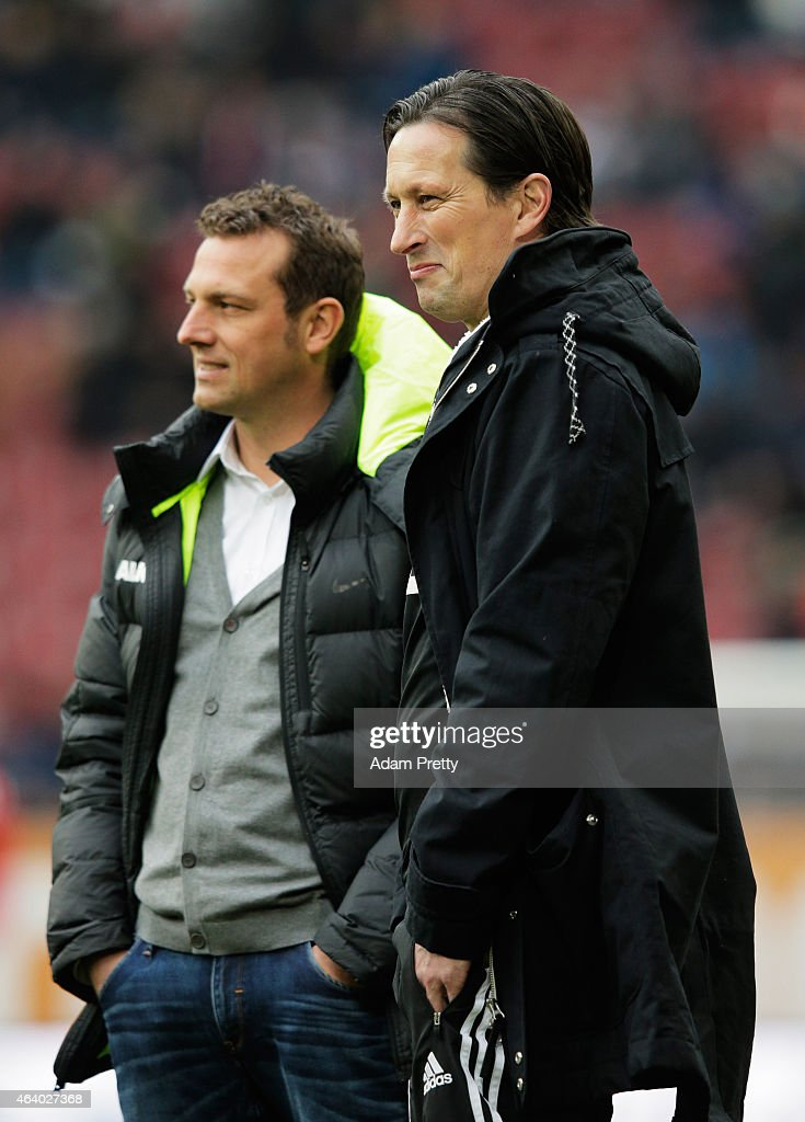 <a gi-track='captionPersonalityLinkClicked' href=/galleries/search?phrase=Markus+Weinzierl&family=editorial&specificpeople=5848121 ng-click='$event.stopPropagation()'>Markus Weinzierl</a> Head Coach of FC Augsburg chats to <a gi-track='captionPersonalityLinkClicked' href=/galleries/search?phrase=Roger+Schmidt+-+Soccer+Manager&family=editorial&specificpeople=13515848 ng-click='$event.stopPropagation()'>Roger Schmidt</a> Head Coach of Bayer Leverkusen before the Bundesliga match between FC Augsburg and Bayer 04 Leverkusen at SGL Arena on February 21, 2015 in Augsburg, Germany.