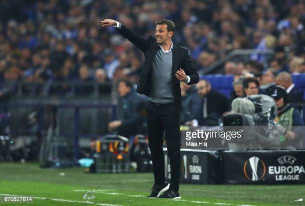 Markus Weinzierl head coach of FC Schalke 04 gives intructions during the UEFA Europa League quarter final second leg match between FC Schalke 04 and...