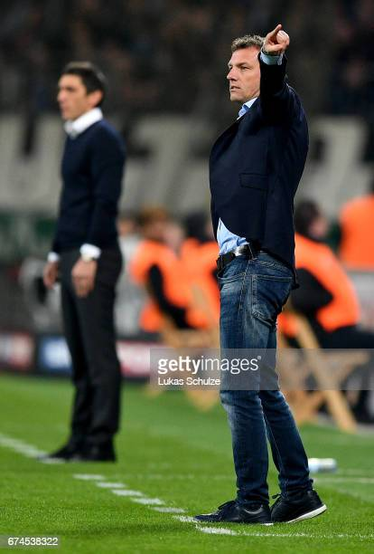 Markus Weinzierl head coach of Schalke looks on during the Bundesliga match between Bayer 04 Leverkusen and FC Schalke 04 at BayArena on April 28...