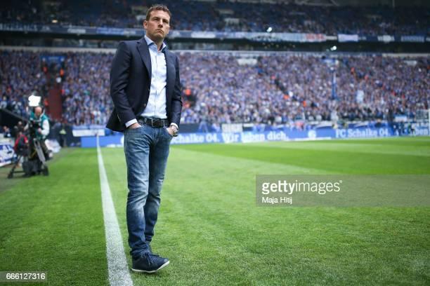 Markus Weinzierl head coach of Schalke looks on prior the Bundesliga match between FC Schalke 04 and VfL Wolfsburg at VeltinsArena on April 8 2017 in...