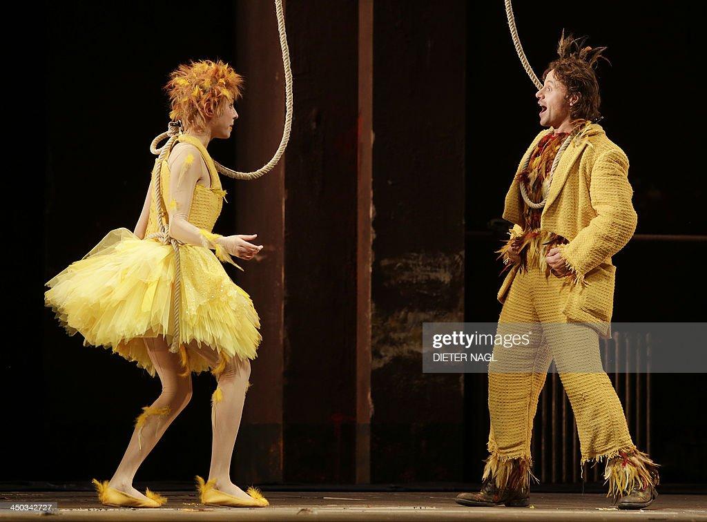 Markus Werba as Papageno and Valentina Nafornita as Papagena perform in a dress rehearsal of Wolfgang Amadeus Mozart's opera 'The Magic Flute' on...