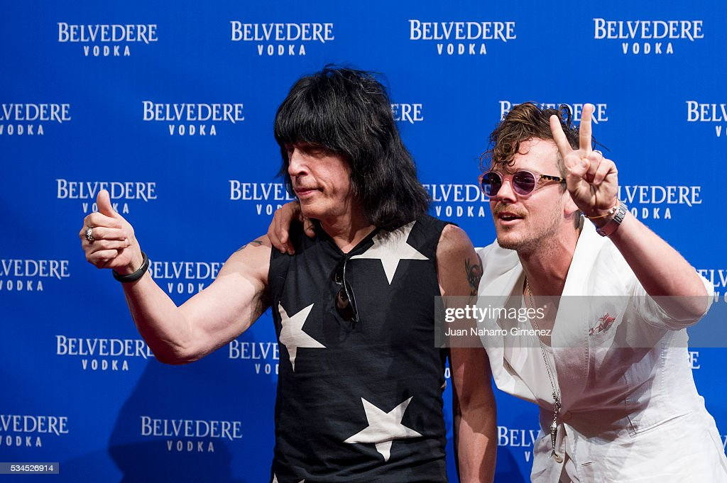 <a gi-track='captionPersonalityLinkClicked' href=/galleries/search?phrase=Marky+Ramone&family=editorial&specificpeople=1995170 ng-click='$event.stopPropagation()'>Marky Ramone</a> (L) and Aldo Comas attend 'Ramones' 40th anniversary party at El Principito on May 26, 2016 in Madrid, Spain.