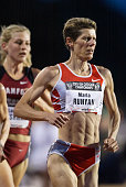 Marla Runyan of the USA competes in the Women's 5000 meter event of the USA Outdoor Track and Field Championships on June 20 2003 at Cobb Track...