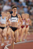 Marla Runyan of the USA competes in the Women's 5000 meter event of the USA Outdoor Track and Field Championships on June 22 2002 at Cobb Track...