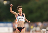 Marla Runyan of the USA wins the Women's 5000 meter event of the USA Outdoor Track and Field Championships on June 22 2002 at Cobb Track Angell Field...