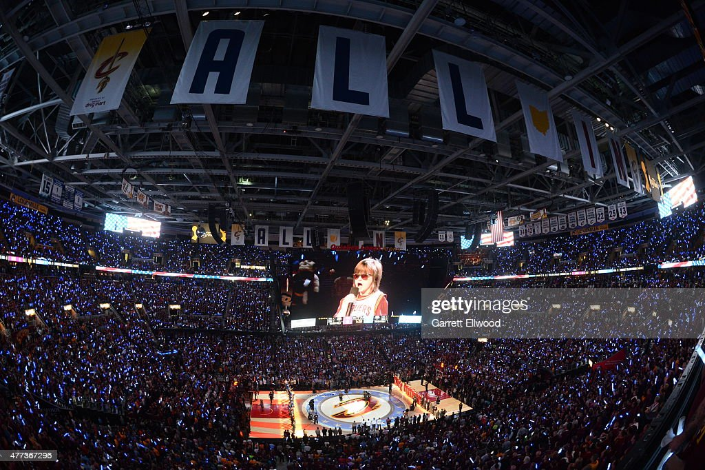 Marlana Vanhoose performs the Nationa Anthem before Game Six of the 2015 NBA Finals at the Quicken Loans Arena between the Golden State Warriors and Cleveland Cavaliers on June 16, 2015 in Cleveland, Ohio