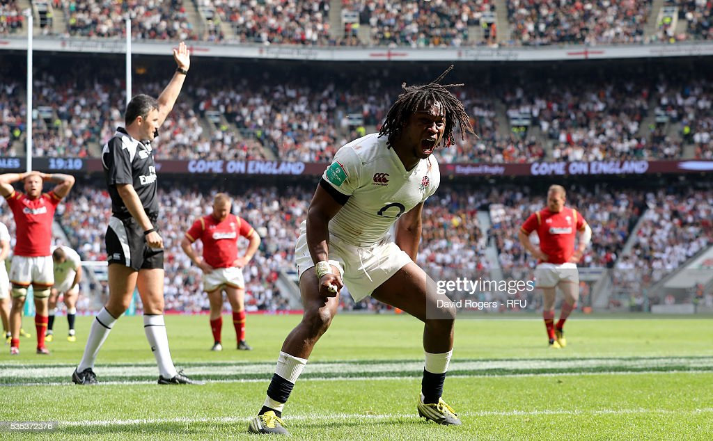 <a gi-track='captionPersonalityLinkClicked' href=/galleries/search?phrase=Marland+Yarde&family=editorial&specificpeople=6587696 ng-click='$event.stopPropagation()'>Marland Yarde</a> of England celebrates after scoring their fifth try during the England v Wales International match at Twickenham Stadium on May 29, 2016 in London, England.
