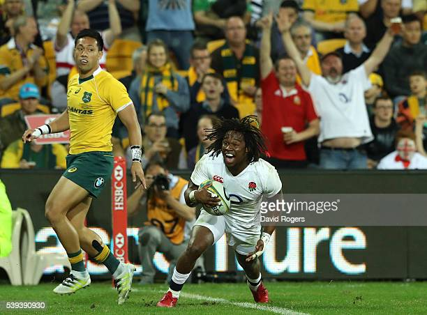 Marland Yarde of England celebrates after scoring their second try during the International Test match between the Australian Wallabies and England...
