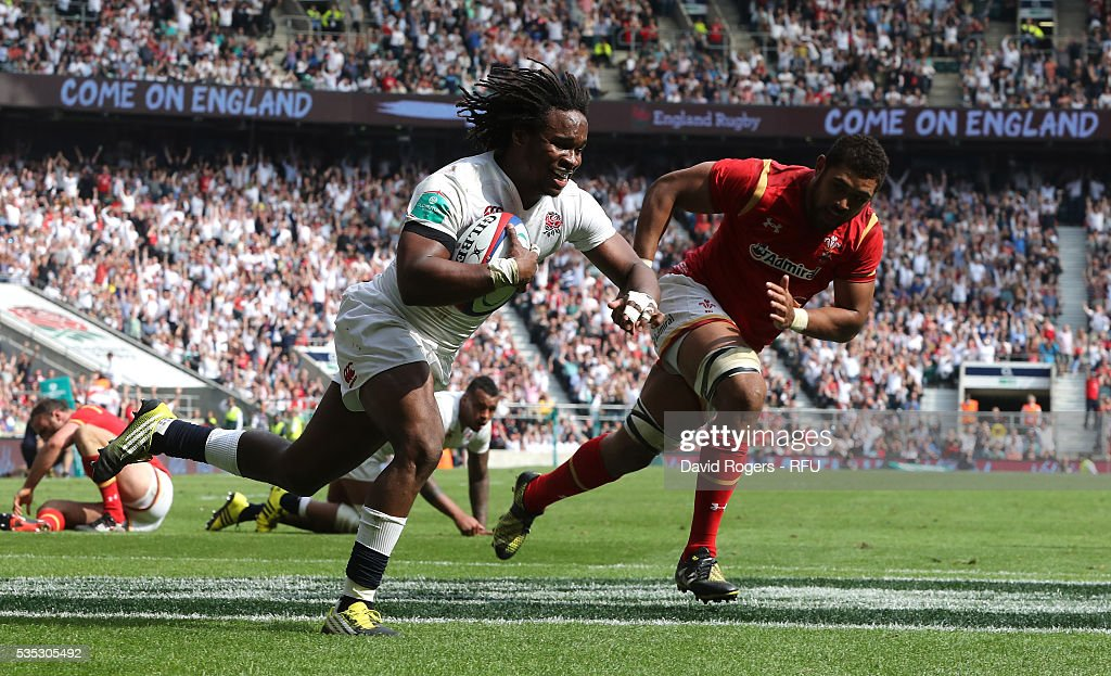 <a gi-track='captionPersonalityLinkClicked' href=/galleries/search?phrase=Marland+Yarde&family=editorial&specificpeople=6587696 ng-click='$event.stopPropagation()'>Marland Yarde</a> of England dives over for their fifth try during the England v Wales International match at Twickenham Stadium on May 29, 2016 in London, England.